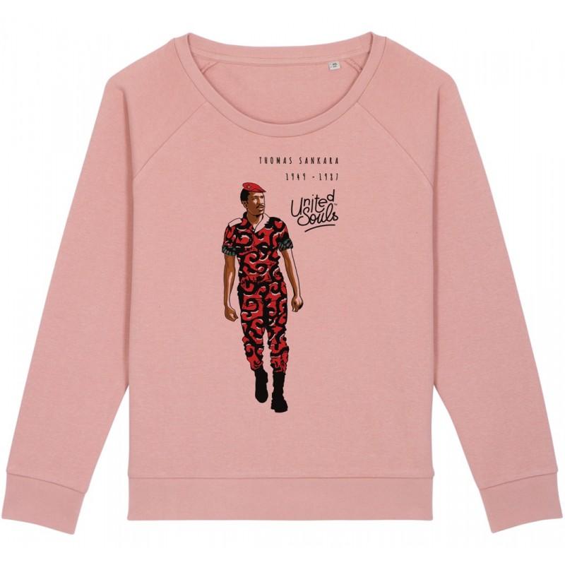 Sweat-shirt femme Thomas Sankara - rose