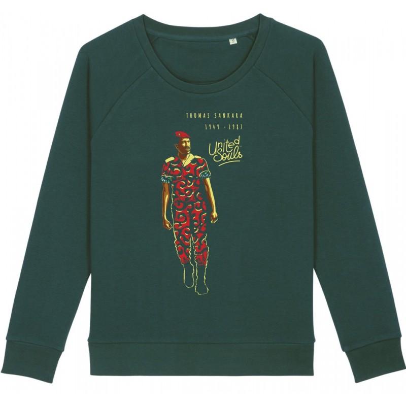 Sweat-shirt femme Thomas Sankara - vert bouteille