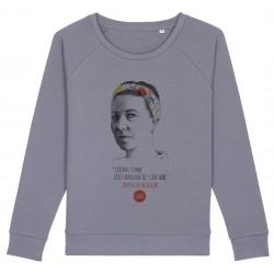 Sweat-shirt femme Simone de Beauvoir - gris lavande