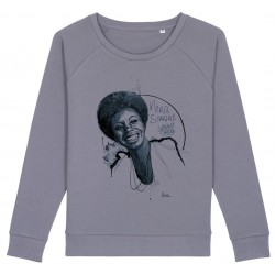 Sweat-shirt femme Nina Simone - gris lavande