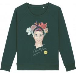 Sweat-shirt femme Marielle Franco - vert bouteille