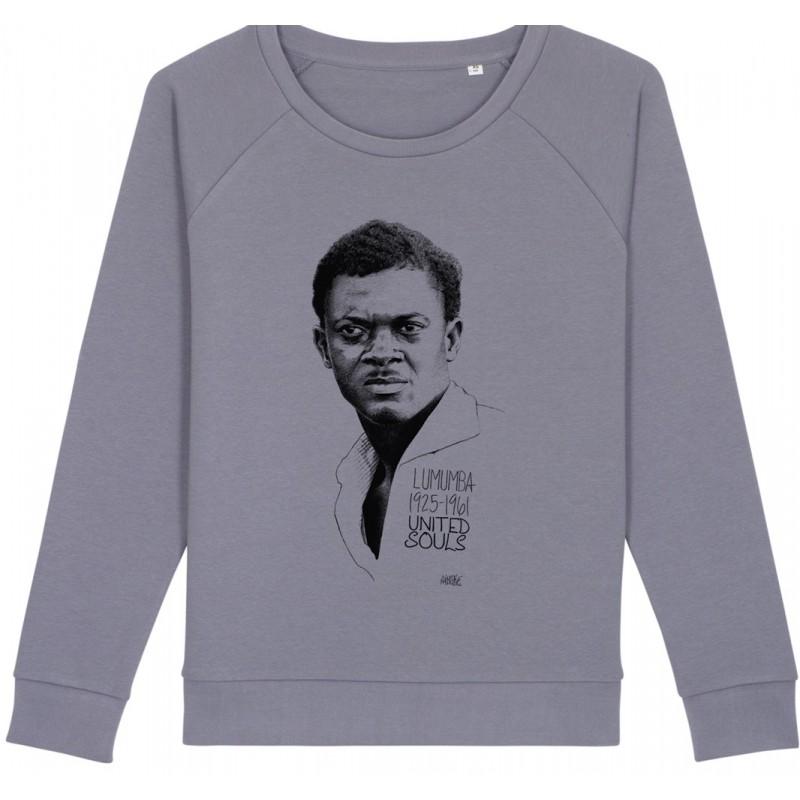 Sweat-shirt femme Patrice Lumumba - gris lavande