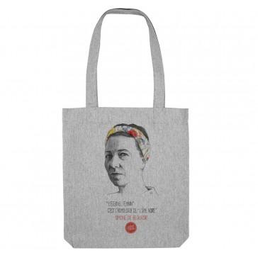 Tote bag féministe et écologique Simone de Beauvoir - couleur gris